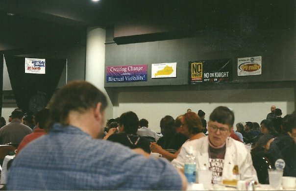 NGLTF Creating Change Conference circa 1999-ish with 'Bi Visibility' Banner from the private collection of Wendy Curry, BiNet USA President emeritus