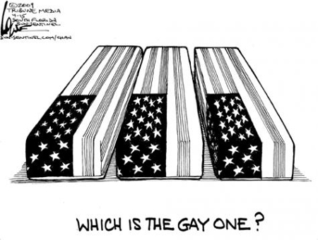 'Which Is The Gay One?' - Chan Lowe, an editorial cartoonist with the Sun-Sentinel in Southern Florida, illustrated the injustice of the 'Don't Ask, Don't Tell' law in his recent blog