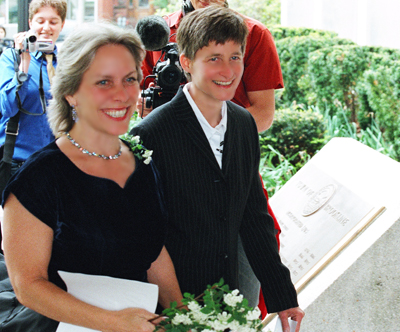 Bisexual activist Robyn Ochs and her spouse Peg Preble wed in Massachusetts on May 17th 2004 the first day it was legal for same sex couples to marry anywhere in the United States of America